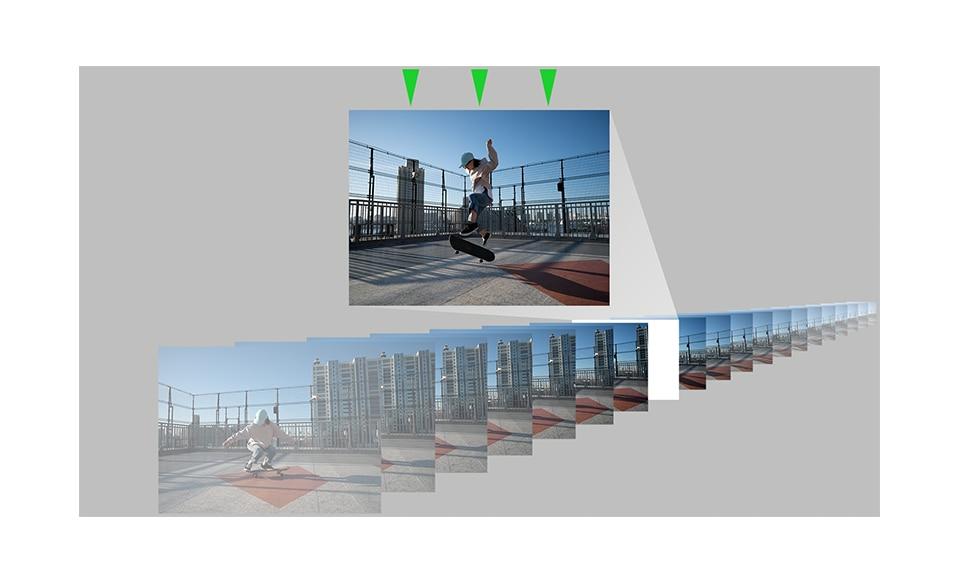 Множество снимков скейтбордиста делающего трюки, полученных при серийной съемке со скоростью 20 кадров в секунду; один из снимков выбран.