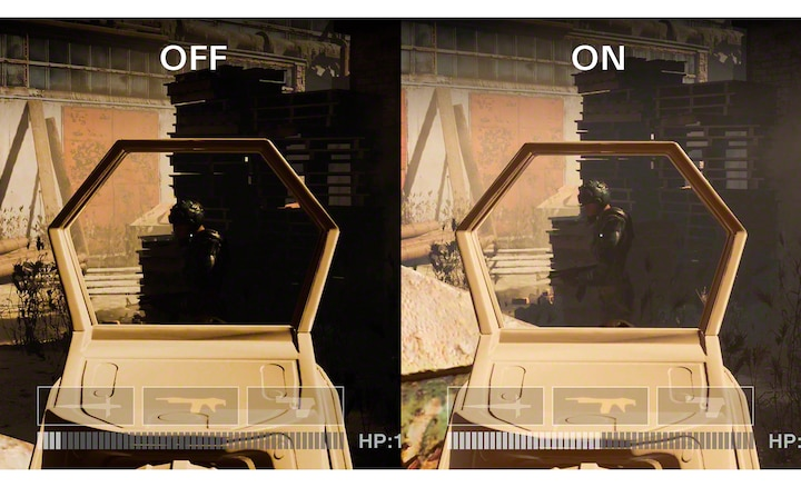 Изображение разделено на две части, на каждой из которых показана одинаковая игровая сцена с функцией Low gamma raiser и без нее