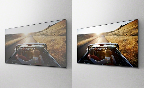 Изображение движущегося автомобиля в на отдельных экранах телевизора, которое демонстрирует преимущества панели X-Wide Angle.