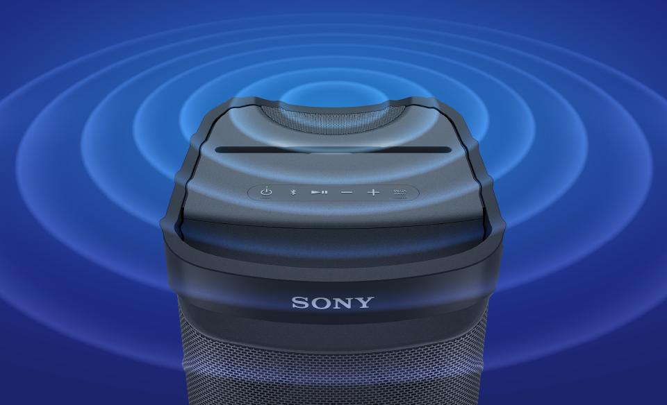 Изображение портативной акустической системы XP700 с технологией X-Series: вид сверху со звуковыми волнами.
