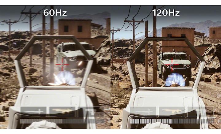 Разделенное изображение с окном шутера при частоте обновления экрана в 60 и 120 Гц