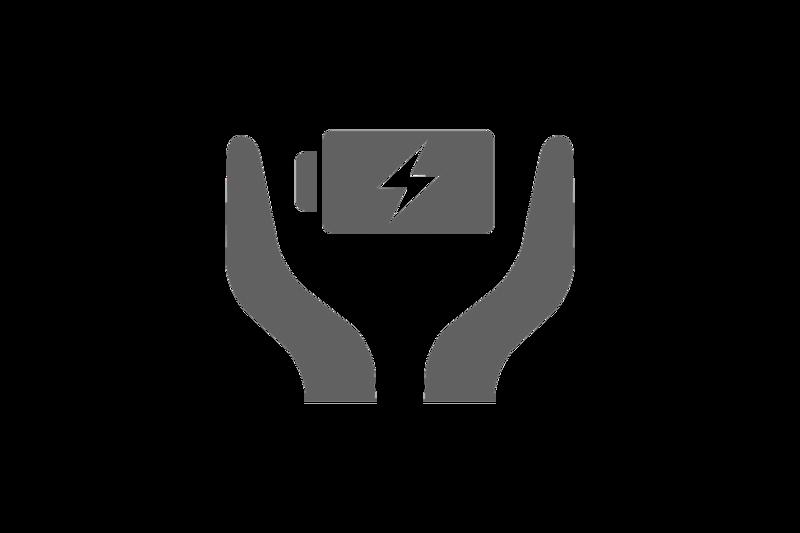 Значок функции ухода за аккумулятором, на котором изображены две руки по обе стороны от заряжаемого аккумулятора.