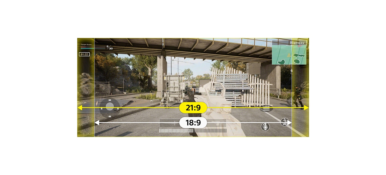 Изображение шутера, на котором показано дополнительное пространство на дисплее с соотношением сторон 21:9