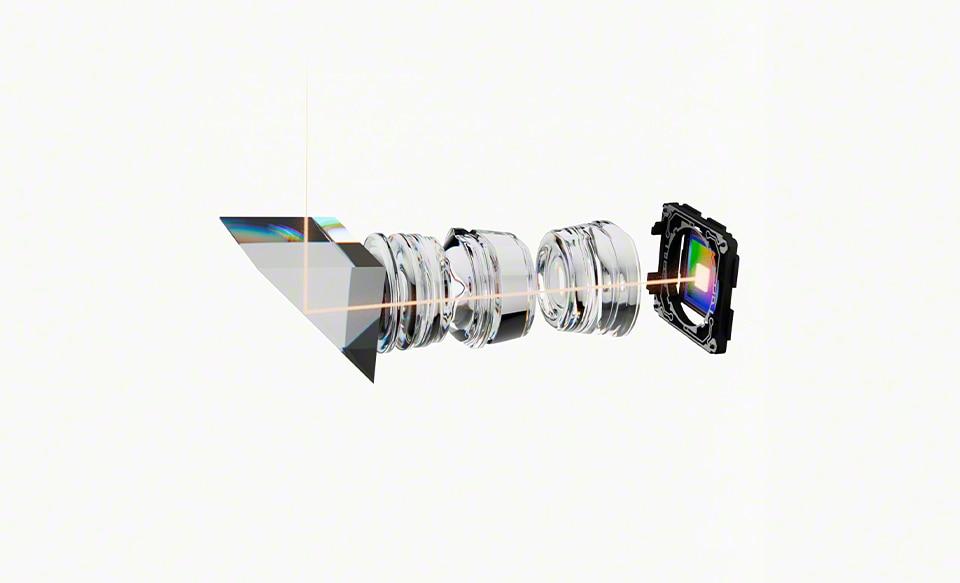 Иллюстрация, показывающая внутреннее устройство объективов и камеры Xperia 5 III