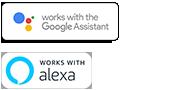 Логотипы Google Assistant built-in и встроенной функции Amazon Alexa
