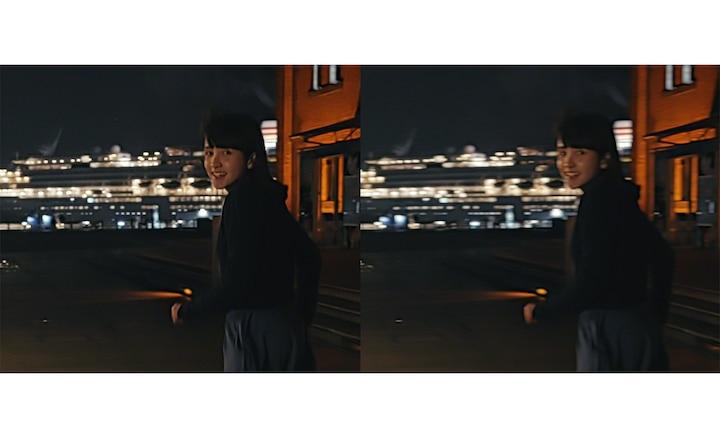 Разделенное изображение с девушкой на вечерней улице: одно четкое, другое размытое