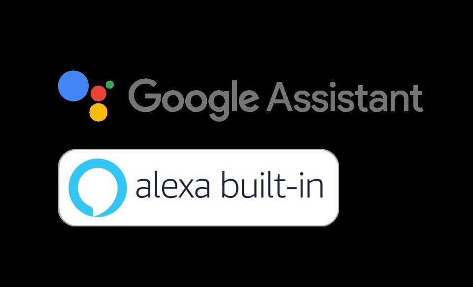 Встроенные логотипы Google Assistant и Alexa