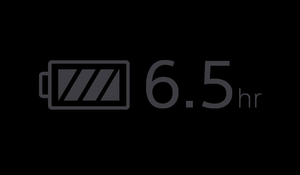 Значок, символизирующий 6,5 часа работы от аккумулятора