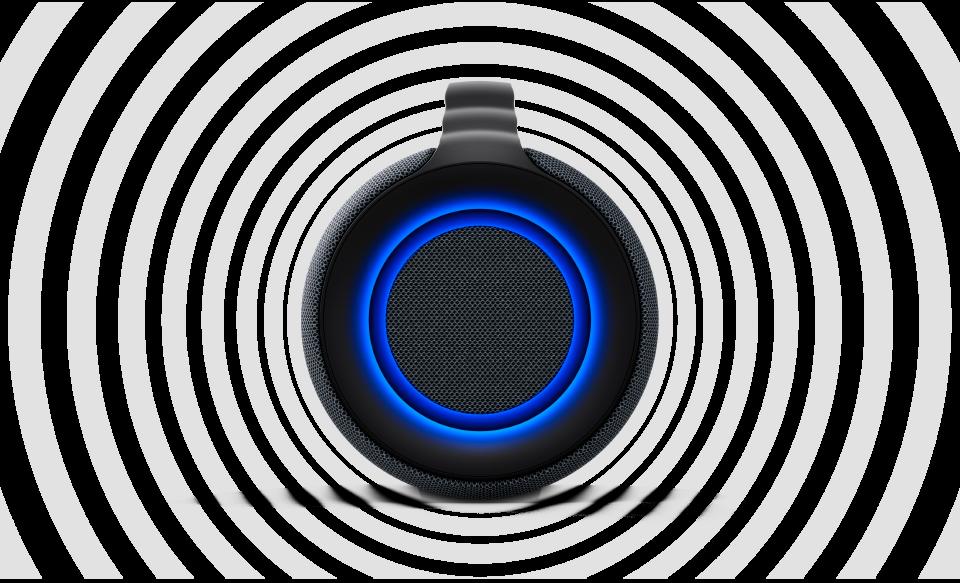 Вид акустической системы SRS-XG500 сбоку, звуковые волны показывают качество объемного звука динамика.