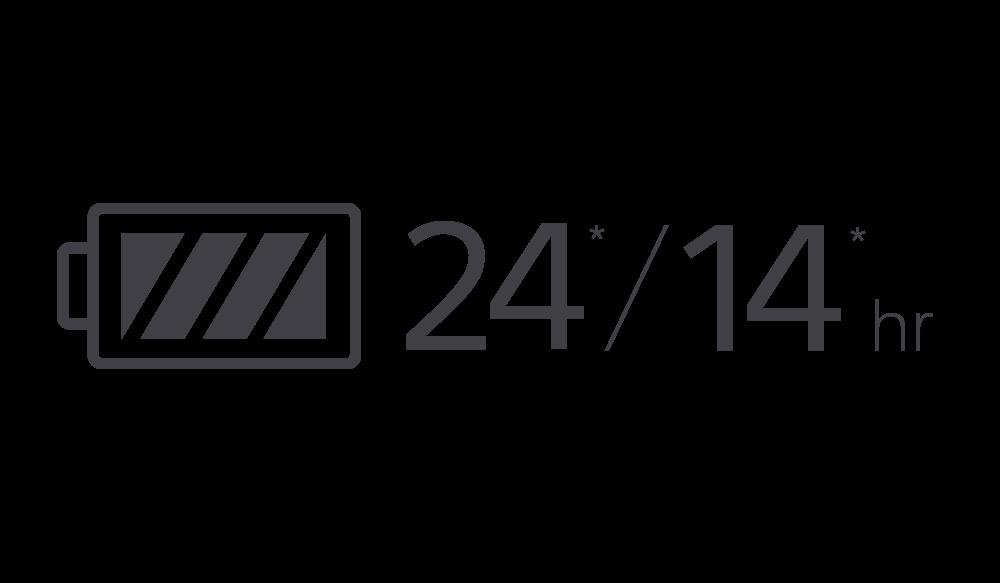 Значок, обозначающий 24/14 часов работы от аккумулятора