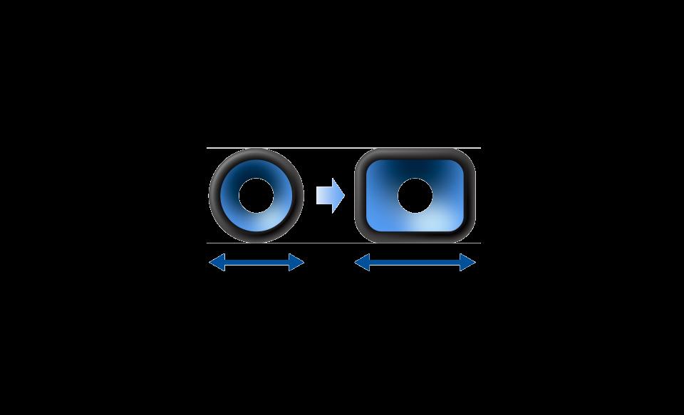 Иллюстрация, на которой показана максимальная площадь поверхности диффузора акустической системы XG500.