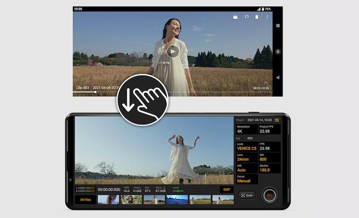 Два снимка экрана, на которых показано, насколько легко начать воспроизведение видео с помощью простого движения.