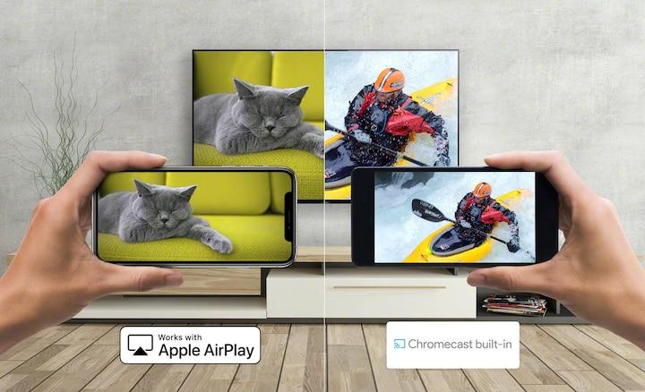 Изображение того, как контент транслируется со смартфона на телевизор