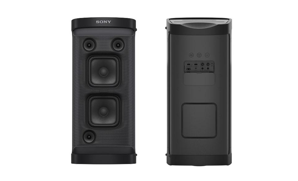 Изображение портативной акустической системы XP700 серии X, вид спереди и сзади.