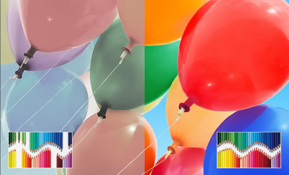 Воздушные шары, иллюстрирующие широкий цветовой диапазон TRILUMINOS