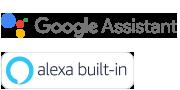 Логотипы встроенных технологий Google Assistant и Alexa