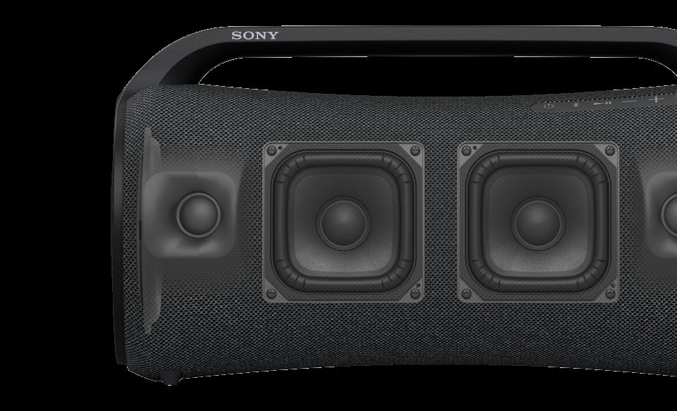 Акустическая система SRS-XG500 и компонент X-Balanced Speaker крупным планом.