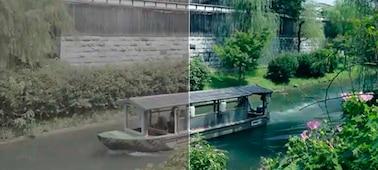 Изображение лодки на реке (левая сторона картинки демонстрирует изображение до коррекции)