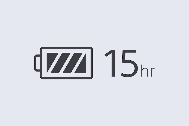 Значок, обозначающий 15 часов работы от аккумулятора