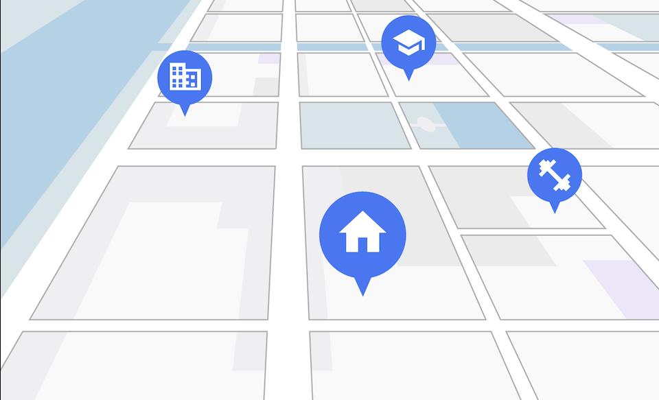 Карта улицы с системы спутниковой навигации, на которой указаны любимые места