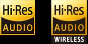 Логотипы Hi-Res Audio и Hi-Res Audio wireless