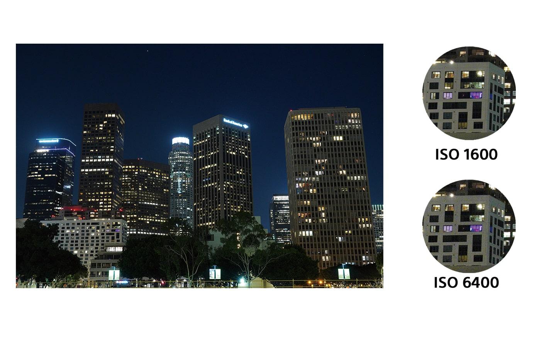 Низкий уровень шумов при высокой светочувствительности ISO