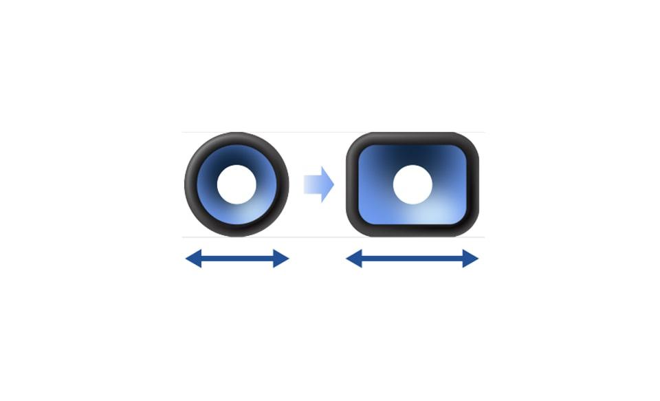Изображение увеличенной площади поверхности диффузора.