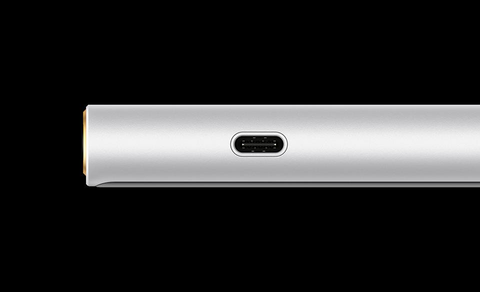 Плеер NW-ZX500 со стороны порта USB Type-C™, вид сбоку