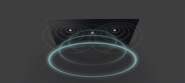 Изображение звуковых волн, исходящих от телевизора благодаря технологии Acoustic Surface Audio+