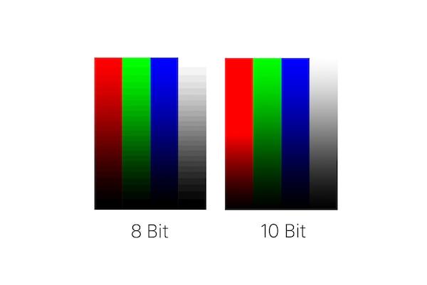 Сравнение 8- и 10-битной глубины цвета