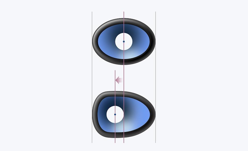 Вертикальное цветное изображение SRS-XB23, демонстрирующее, как боковые пассивные излучатели генерируют звук.