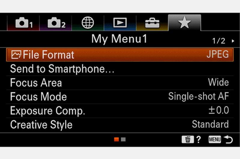 Быстрый доступ с функцией My Menu Sony ILCE-6100 / ILCE-6100L / ILCE-6100Y