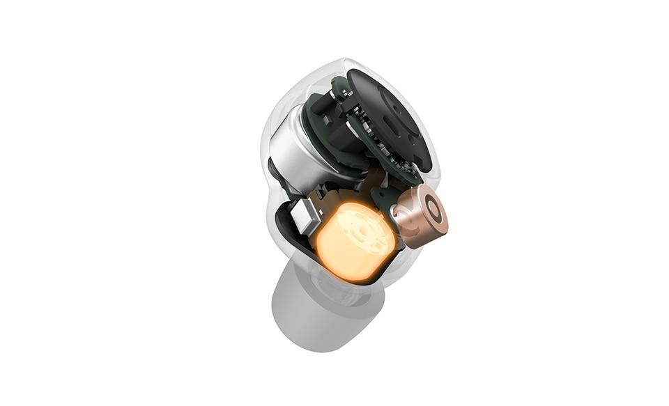 Изображение модели наушников WF-1000XM4 в сечении, иллюстрирующее новый 6 мм динамик внутри